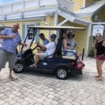 2019 In-state retreat, Key Largo – DAY Three – six members posing for photo on golf cart