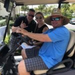 2019 In-state retreat, Key Largo – DAY three – three members posing for photo on golf cart