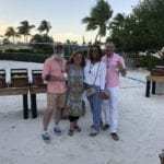 2019 In-state retreat, Key Largo – DAY three – members and family posing for photo at Buffet on beach