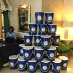2018 Leadership Retreat, Palm Beach – large stack of blue buckets in lobby