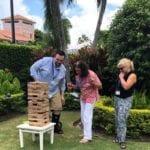 2018 Leadership Retreat, Palm Beach – members enjoying outdoor activity – GIANT Jenga