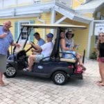 2019 In-state retreat, Key Largo – six members posing for photo on golf cart