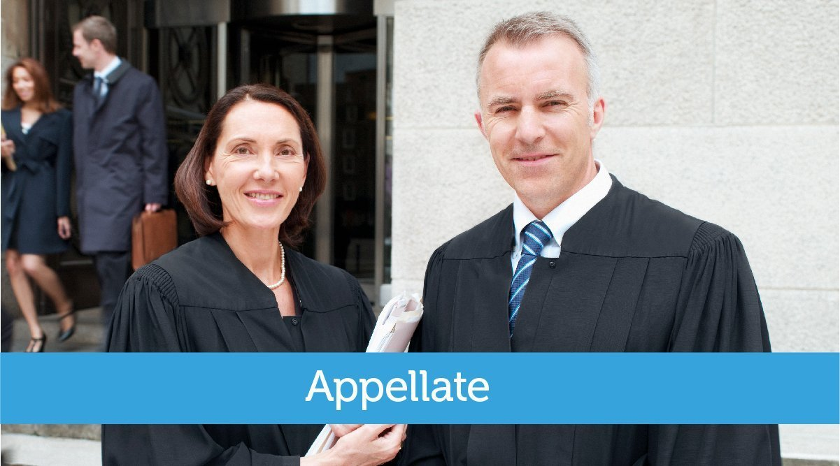Appellate Committee - Male and female Caucasian judges standing together in front of courthouse
